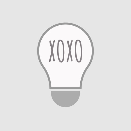 xoxo: Illustration of an isolated line art light bulb icon with    the text XOXO Illustration