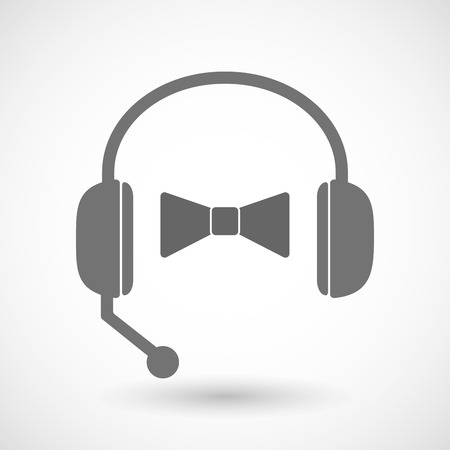 hands free: Illustration of an isolated hands free headset icon with  a neck tie icon