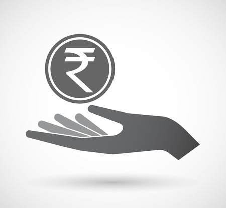 Illustration of an isolated offerign hand icon with  a rupee coin icon Illustration