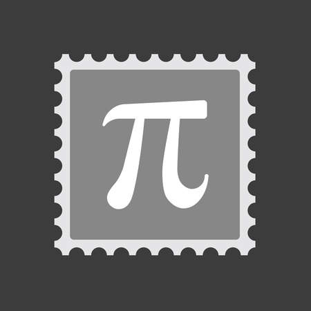 constant: Illustration of an isolated  mail stamp icon with the number pi symbol