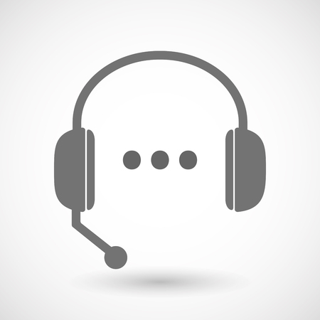 orthographic: Illustration of an isolated hands free headset icon with  an ellipsis orthographic sign Illustration
