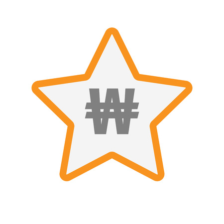 won: Illustration of an isolated  line art star icon with a won currency sign Illustration