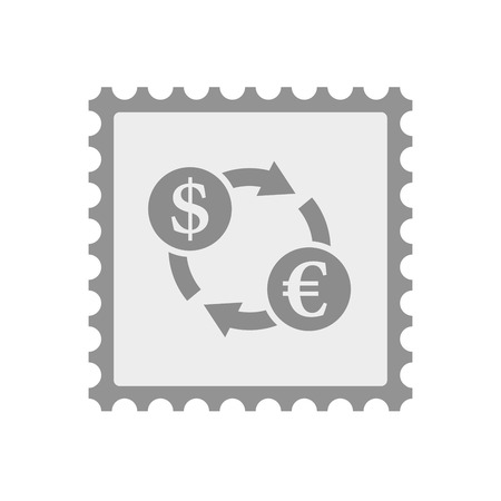 Illustration of an isolated  mail stamp icon with a dollar euro exchange sign Illustration