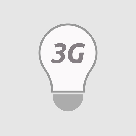 3g: Illustration of an isolated line art light bulb icon with    the text 3G Illustration