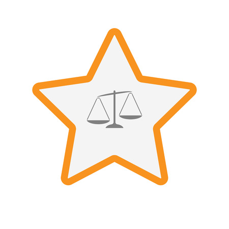 Illustration of an isolated  line art star icon with  an unbalanced weight scale