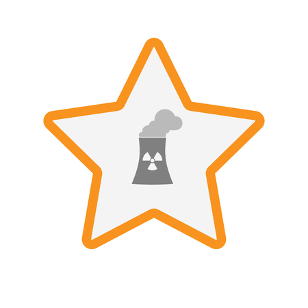 star power: Illustration of an isolated  line art star icon with a nuclear power station Illustration