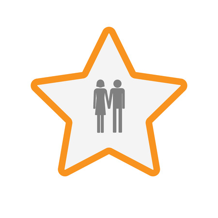 heterosexual couple: Illustration of an isolated  line art star icon with a heterosexual couple pictogram Illustration
