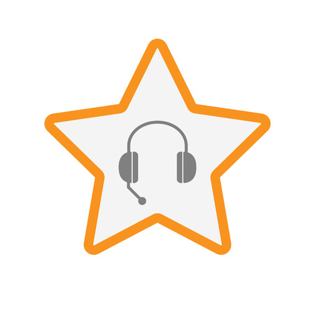 hands free phone: Illustration of an isolated  line art star icon with  a hands free phone device Illustration