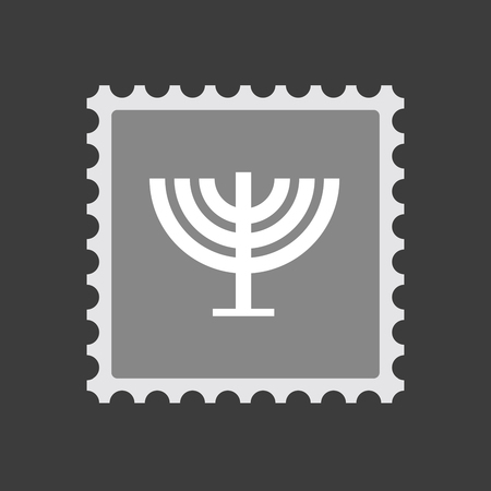 chandelier isolated: Illustration of an isolated  mail stamp icon with a chandelier