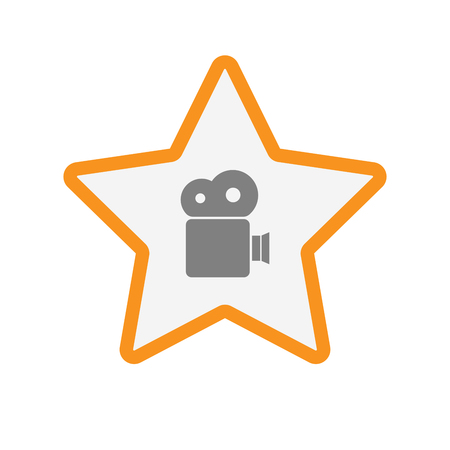 Illustration of an isolated  line art star icon with a film camera