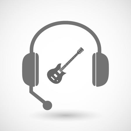 hands free: Illustration of an isolated hands free headset icon with  an electric guitar