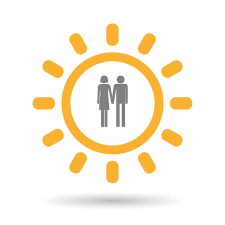 heterosexual: Illustration of an isolated  line art sun icon with a heterosexual couple pictogram