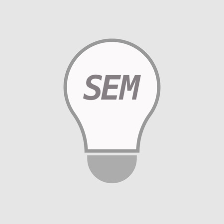 sem: Illustration of an isolated line art light bulb icon with    the text SEM