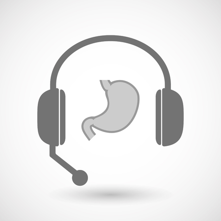 hands free: Illustration of an isolated hands free headset icon with  a healthy human stomach icon Illustration