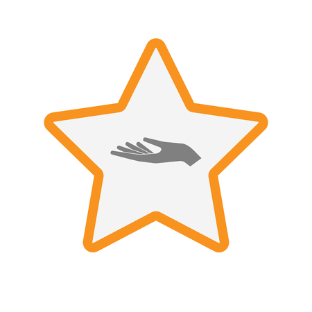 Illustration of an isolated  line art star icon with a hand offering Illustration