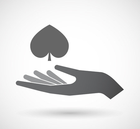 hand holding playing card: Illustration of an isolated offerign hand icon with  the  spade  poker playing card sign