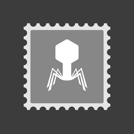 Illustration of an isolated  mail stamp icon with a virus