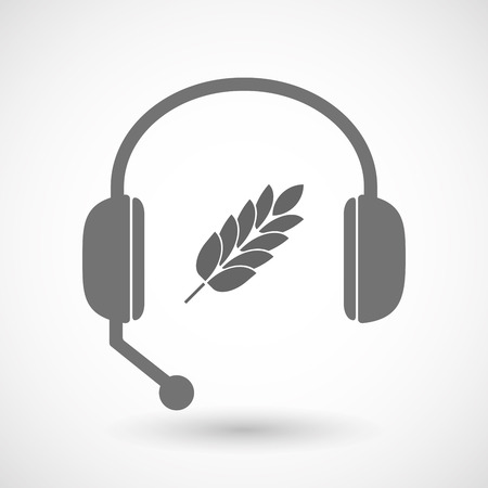 hands free: Illustration of an isolated hands free headset icon with  a wheat plant icon