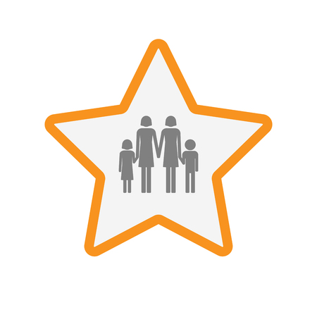 Illustration of an isolated  line art star icon with a lesbian parents family pictogram Illustration