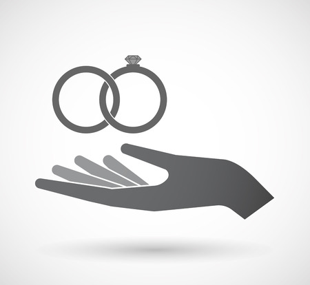 Illustration of an isolated offerign hand icon with  two bonded wedding rings Illustration
