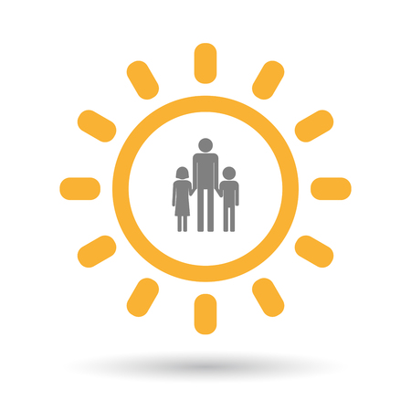single parent: Illustration of an isolated  line art sun icon with a male single parent family pictogram