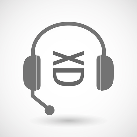 face with headset: Illustration of an isolated hands free headset icon with   a laughing text face