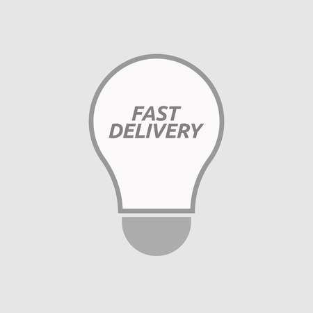 energy distribution: Illustration of an isolated line art light bulb icon with  the text FAST DELIVERY