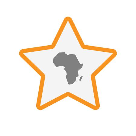 Ilustración de un icono de la estrella del arte aislado de acuerdo con un mapa del continente africano