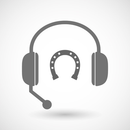 rein: Illustration of an isolated hands free headset icon with  a horseshoe sign Illustration