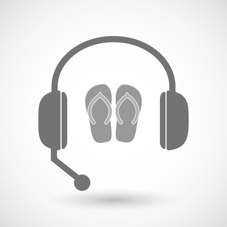Illustration of an isolated hands free headset icon with   a pair of flops