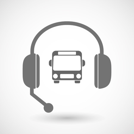 Illustration of an isolated hands free headset icon with  a bus icon Ilustração