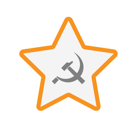 communist: Illustration of an isolated  line art star icon with  the communist symbol