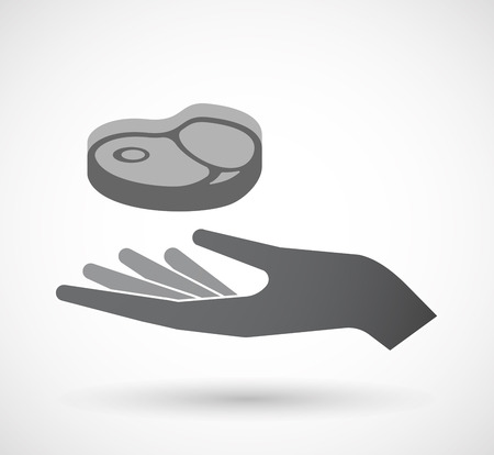 Illustration of an isolated offerign hand icon with  a steak icon