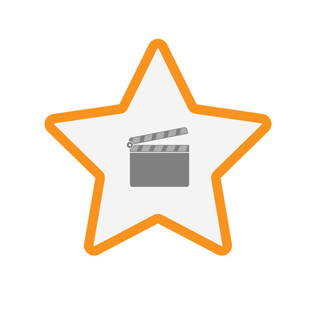 Illustration of an isolated  line art star icon with a clapperboard Illustration
