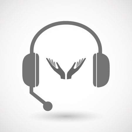 hands free: Illustration of an isolated hands free headset icon with  two hands offering Illustration