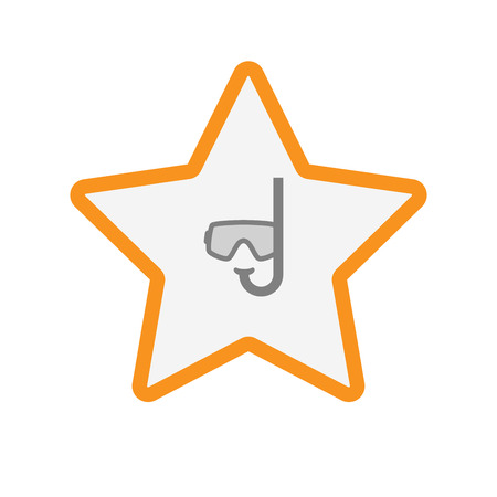 Illustration of an isolated  line art star icon with a diving goggles
