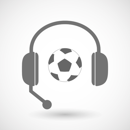 hands free: Illustration of an isolated hands free headset icon with  a soccer ball