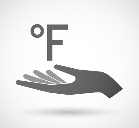 give and take: Illustration of an isolated offerign hand icon with  a farenheith degrees sign