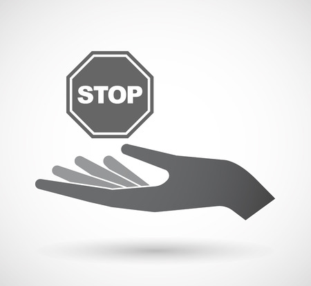 stop signal: Illustration of an isolated offerign hand icon with  a stop signal Illustration