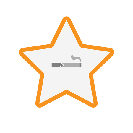 electronic voting: Illustration of an isolated  line art star icon with an electronic cigarette Illustration
