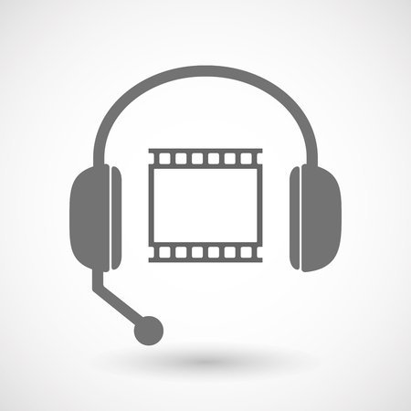 hands free: Illustration of an isolated hands free headset icon with   a photographic 35mm film strip