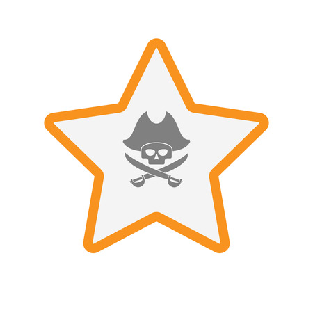 skull and crossed bones: Illustration of an isolated  line art star icon with a pirate skull