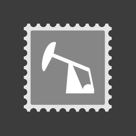 fuel rod: Illustration of an isolated  mail stamp icon with a horsehead pump