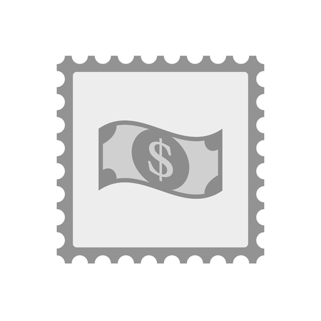 Illustration of an isolated  mail stamp icon with a dollar bank note Illustration