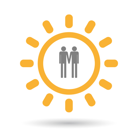 Illustration of an isolated  line art sun icon with a gay couple pictogram
