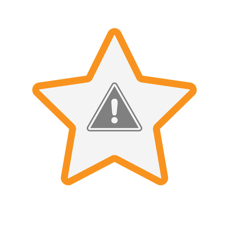 Illustration of an isolated  line art star icon with a warning signal