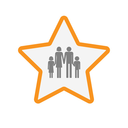 Illustration of an isolated  line art star icon with a conventional family pictogram