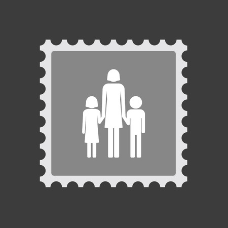 single parent family: Illustration of an isolated  mail stamp icon with a female single parent family pictogram