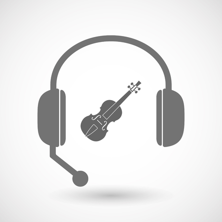 hands free: Illustration of an isolated hands free headset icon with  a violin Illustration