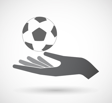 Illustration of an isolated offerign hand icon with  a soccer ball Illustration